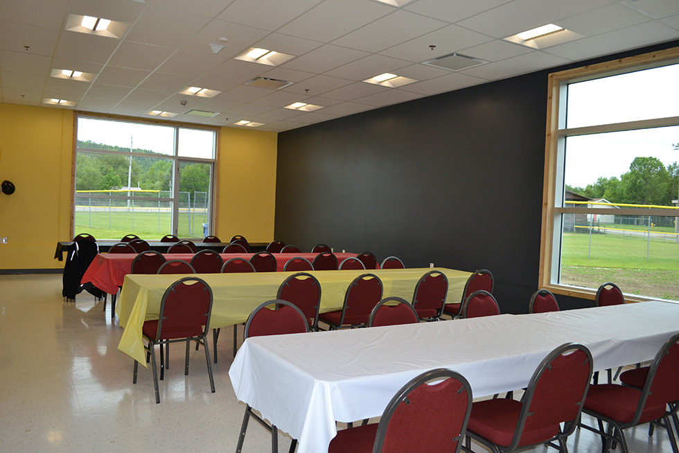 The large conference room can  accommodate a big group, or a temporary wall divides the space into two spaces depending on the occasion.