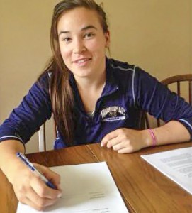 Kelly Babstock signs her name to a  contract with the NWHL Connecticut Whale.