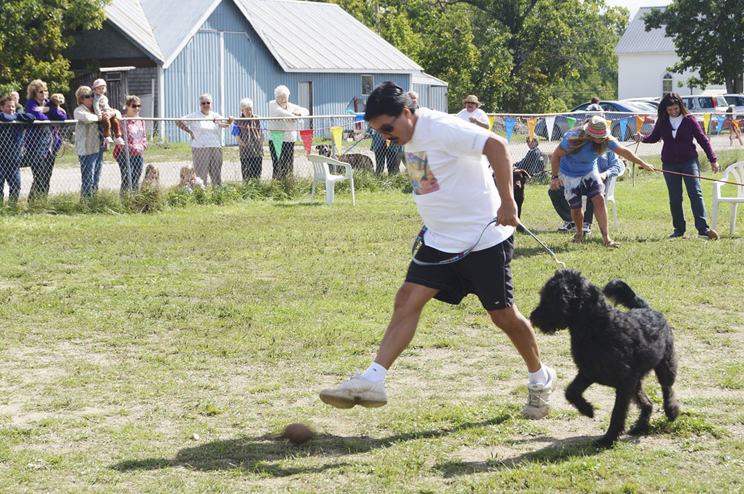 Labradoodle Jackson and his human Jamie compete in the coconut relay taking the prize in the final heat. Fierce competition was given by Bear and Simba.