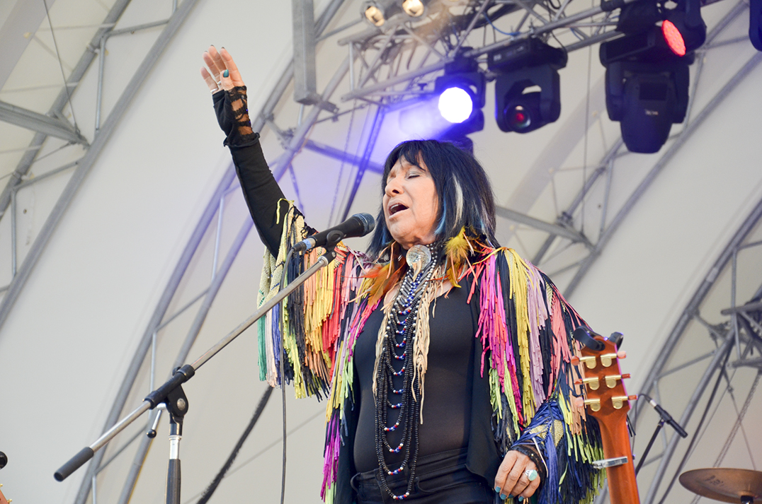 The legendary Buffy Sainte-Marie brought her powerful stage presence to the  Manitoulin Transport stage proving conclusively that her powerful creativity  transcends her days as a 60s folk icon into a new generation of music.