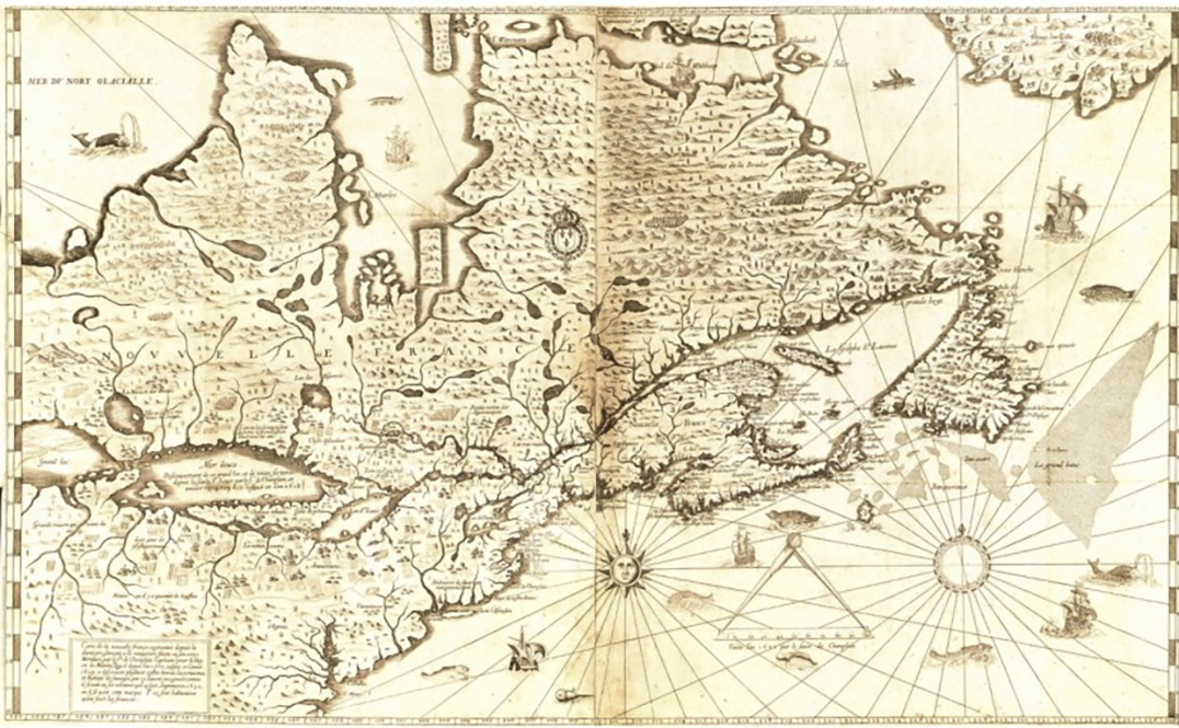 Samuel de Champlain spent much time writing descriptions of the territory and  peoples he encountered, including those he met in Georgian Bay. He was also a maker of maps, as seen above. The lake title La Mer Duce is his idea of Georgian Bay, not realizing there was a much larger Lake Huron and within it, Manitoulin Island. His maps and writings provide us with an understanding of where he  travelled and how he interpreted the places he visited and people he met.