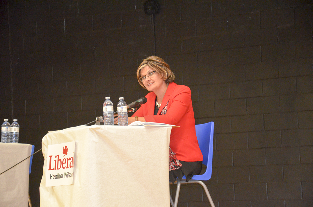 Heather Wilson, Liberal candidate, responds to a question from the floor.