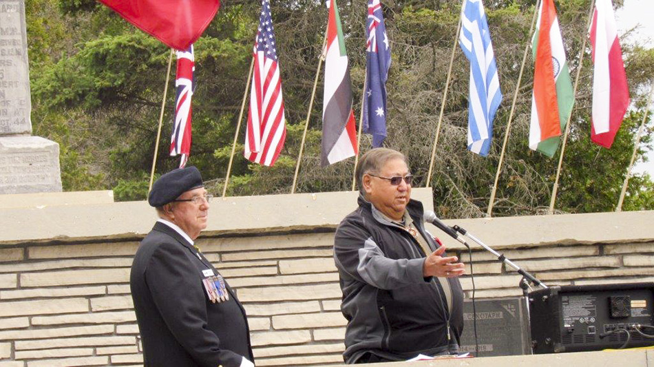 Sheshegwaning First Nation Chief Joe Endanawas was a guest speaker at the Decoration Day ceremony held June 7 at the  Manitoulin District Cenotaph. Chief Endanawas also laid a wreath for aboriginal veterans.