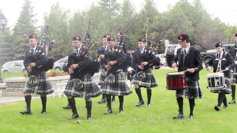 The Sudbury and District Pipe Bandattended the Decoration Day ceremonyheld June 7 at the  Manitoulin District Cenotaph. photos by Betty Bardswich