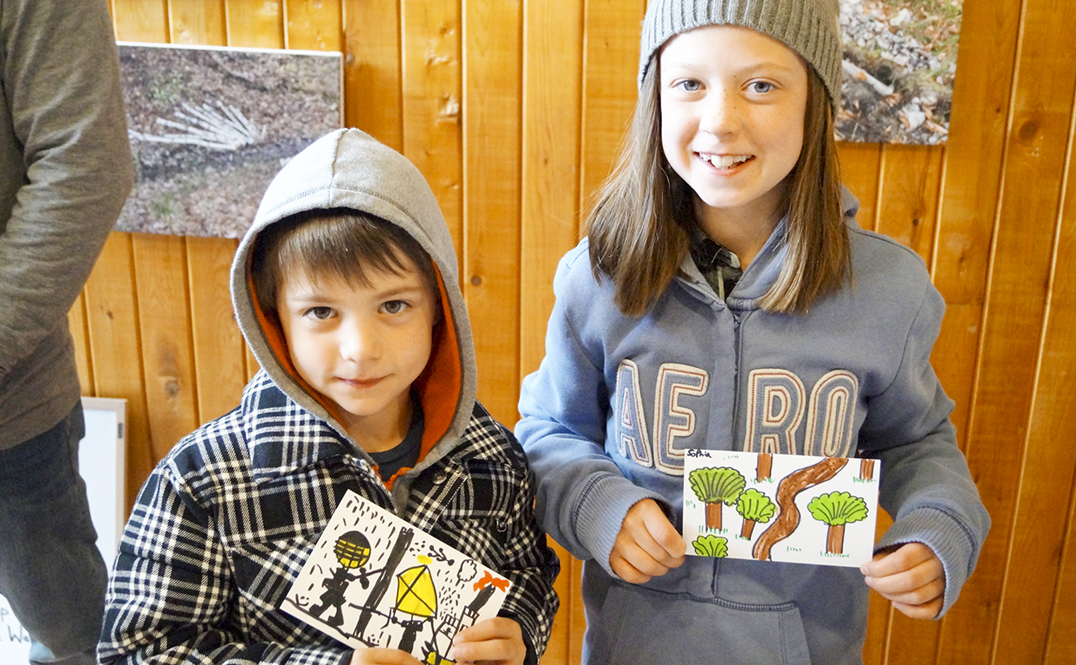 Six-year-old Elliot and his eight-year-old sister Sophie were among several  children who took part in the kids  environmental art workshop. Their postcards will be part of an exchange project held at 4 elements living arts studio.