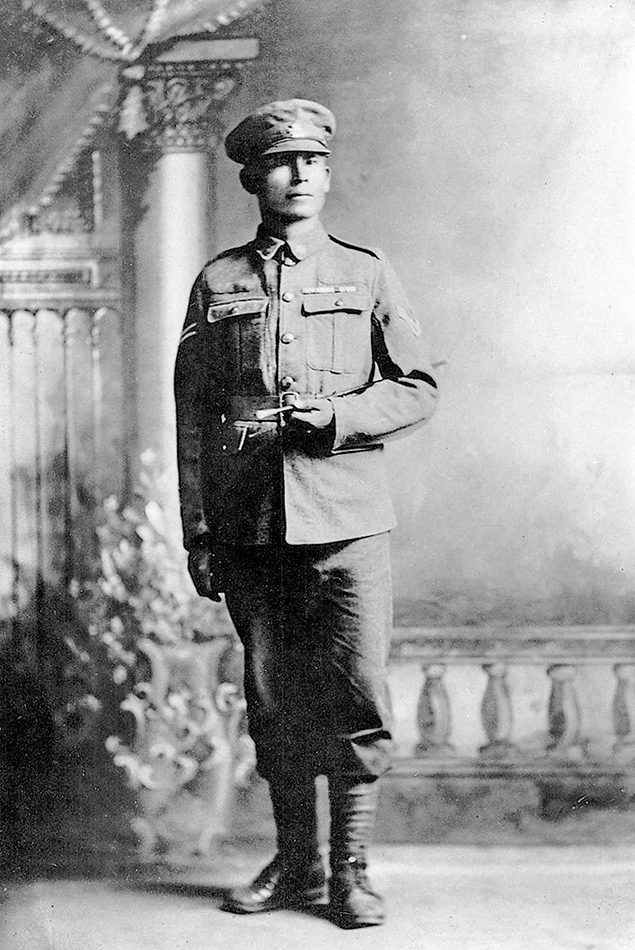 Francis Pegahmagabow is one of very few soldiers to have fought throughout all of WWI.