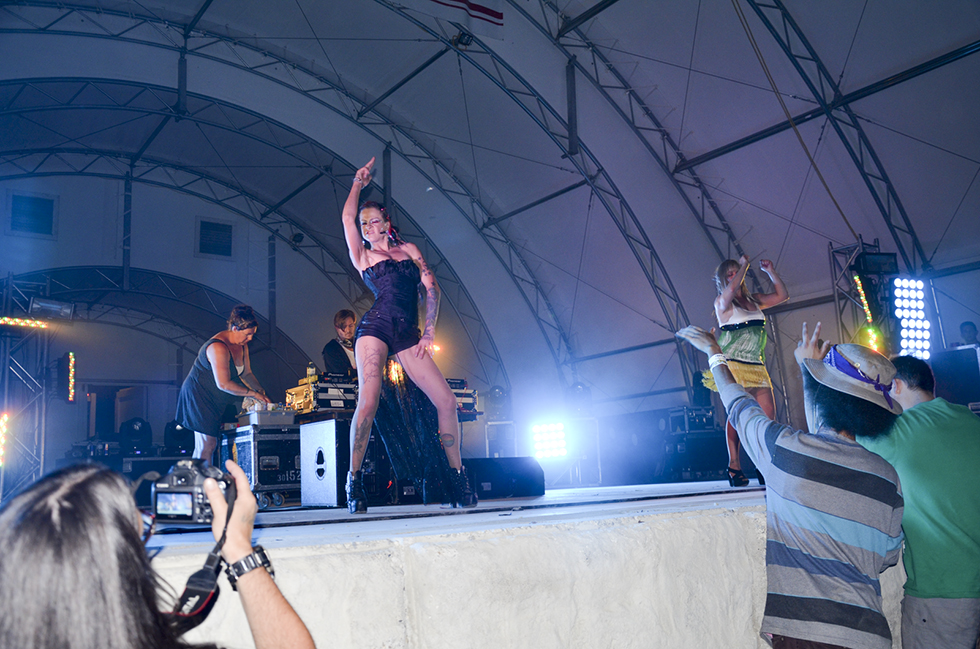 The EDM show on Saturday night featured energetic dancers onstage that proved a definite hit with the crowd.