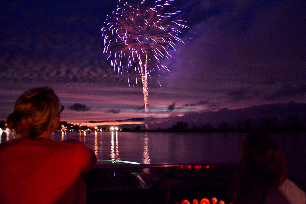 This year's fireworks were said to be the best ever. Seen here are the firework shooting off from Goat Island over the North Channel with the Port of Little Current in the  background. photos by Robin Burridge