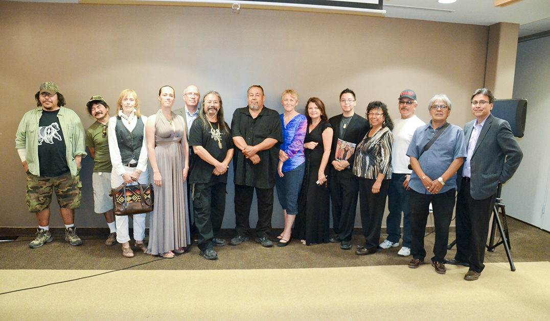 A vertitable who's who of the Manitoulin art community gather for a historic photograph with the Heart of Turtle Island curatorial team and  historian Dominic Beaudry at the Manitoulin Hotel and Conference Centre. The art exhibit showcases the Anishinaabe art of the Manitoulin region. photo by Michael Erskine