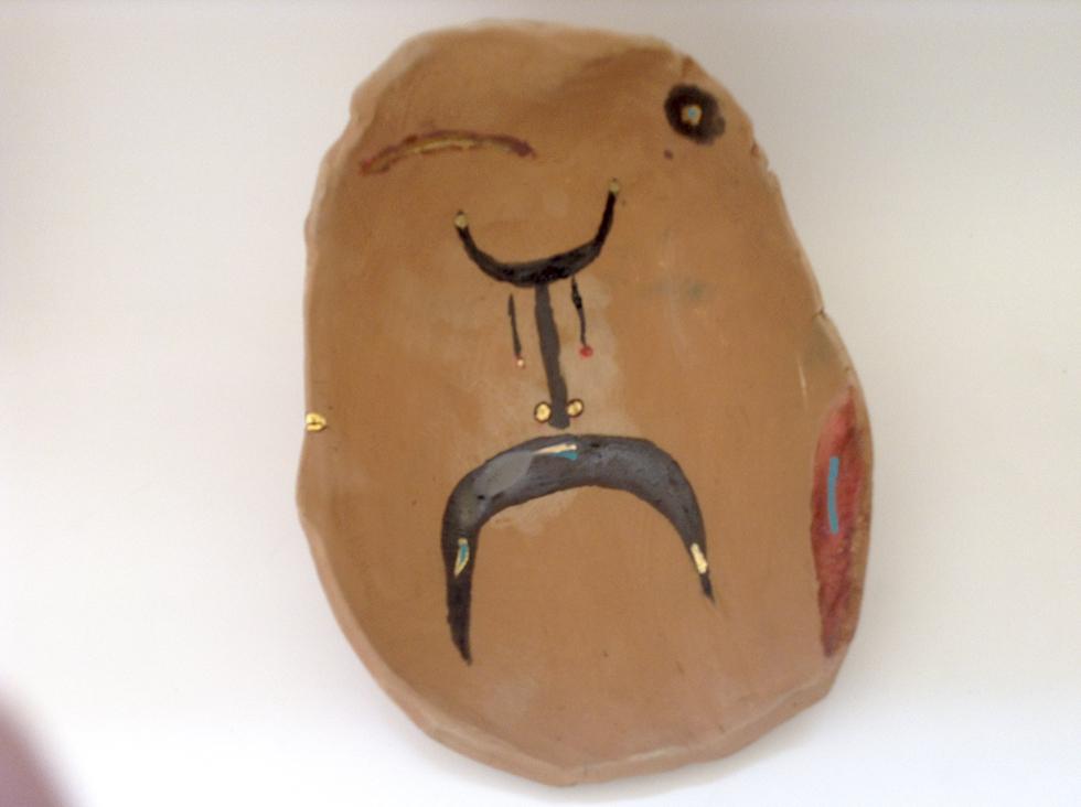 Jose Clay Iconic alive, Aruban clay from Alto Vista Black bronze glaze, gold luster, acrylic