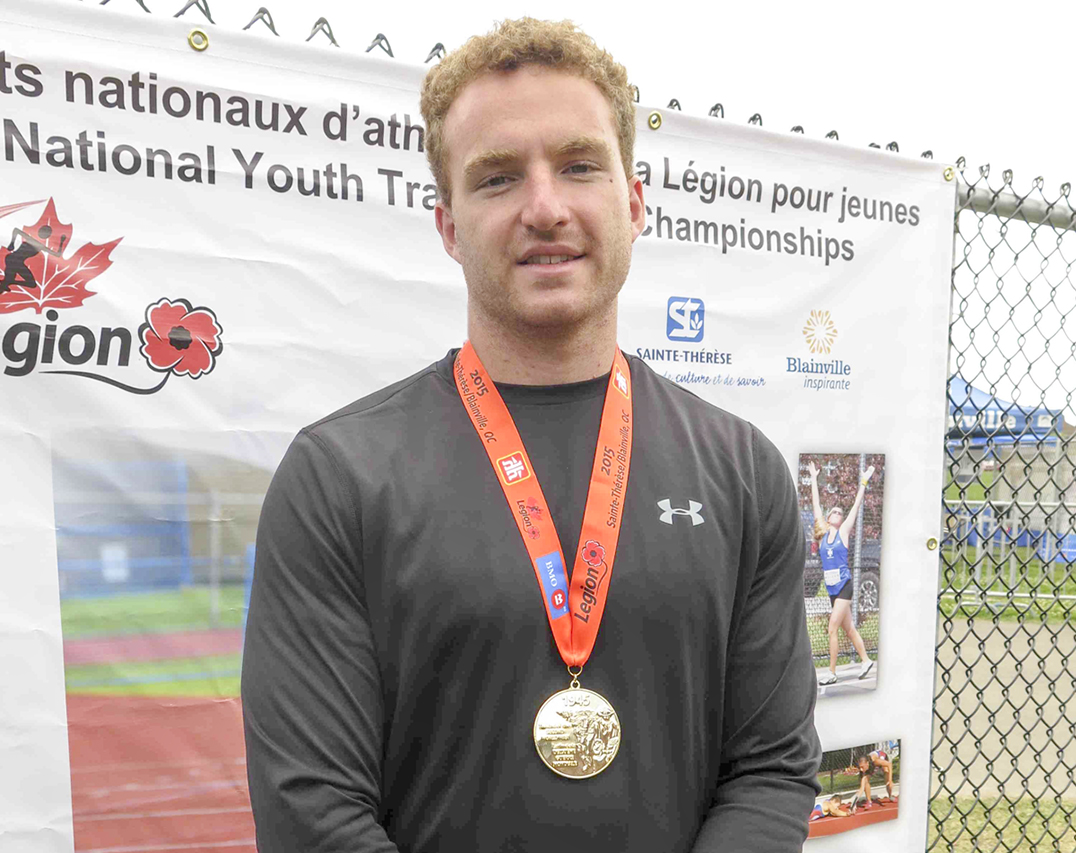 Joseph Maxwell of Evansville won gold for discus at the Legional National Track and Field Championship in Quebec last week.