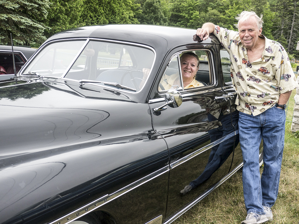 """Al Davis, whose """"lifelong hobby"""" is restoring old cars, and his wife Tosca travelled from Toronto to Kagawong in their mint-condition 1950 Mercury sports sedan."""