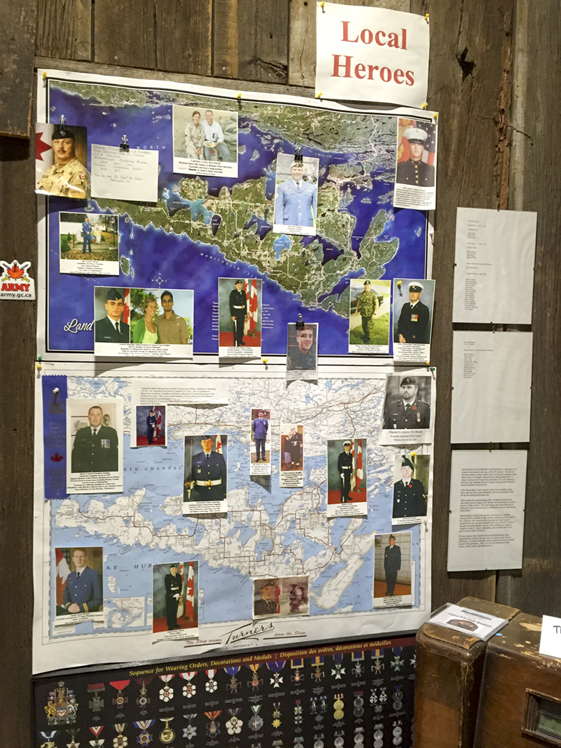 The 'Local Heroes' map of Manitoulin highlights those serving in the with an Island connection military.