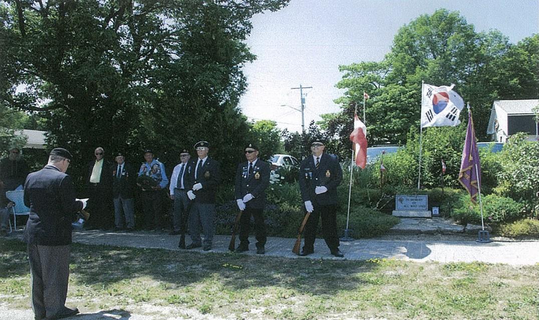 Korean war veterans Raymond Corbiere, Bill Martin and Rev. Red Butler were present for the ceremony. photos by Monique Barnes