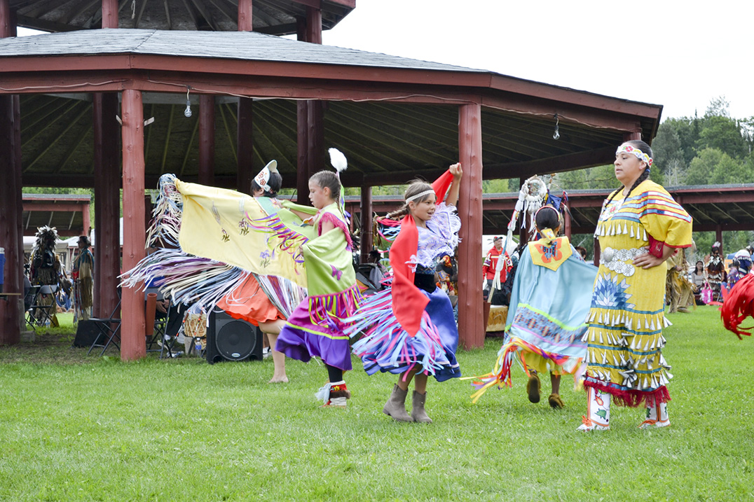 Young fancy dancers dance to the beat of the powwow drum.