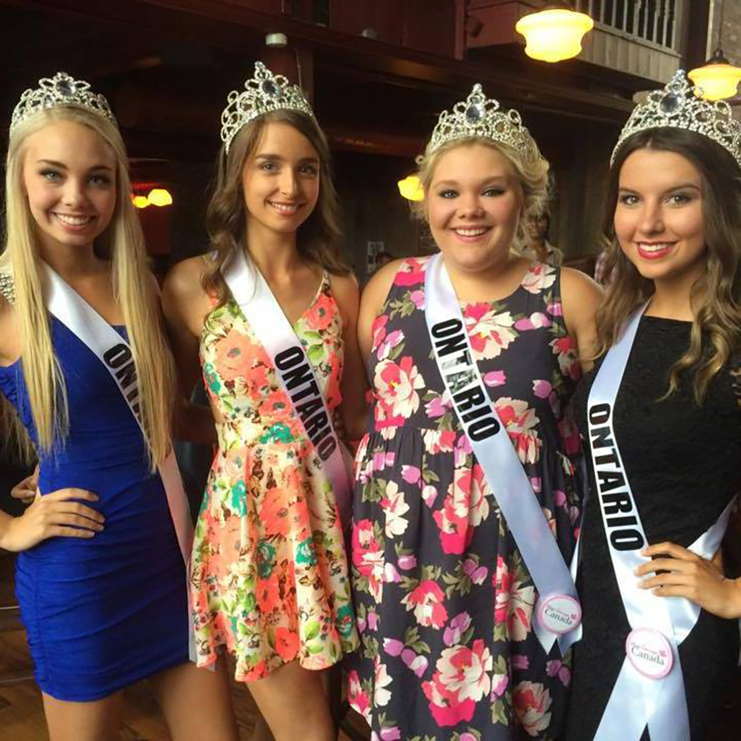 Miss Manitoulin 2014 Katie Harper, second from right, with her fellow Northern Ontario contestants including Alyssa Chiasson, Chelsey Pitfield and Madison Kvaltin at the Miss Teenage Canada pageant last week in Toronto. photos by Cheryl Kozera