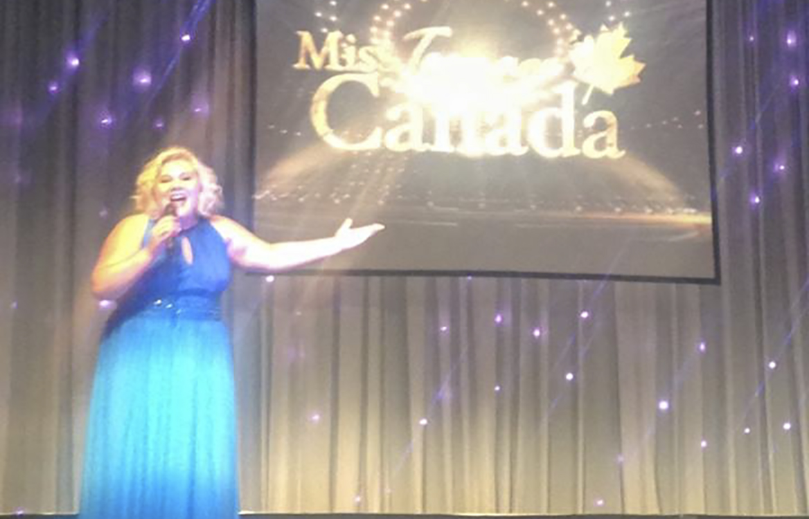 Miss Manitoulin 2014 Katie Harper of Little Current sings 'Don't Rain on My Parade' at the Miss Teenage Canada pageant in Toronto this past weekend. Her  performance earned her the title of Miss Teen Talent Canada 2015. photo courtesy of Miss Teenage Canada