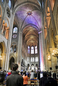 A photo taken by Scott Maybee inside the Notre Dame Cathedral just before the memorial service.