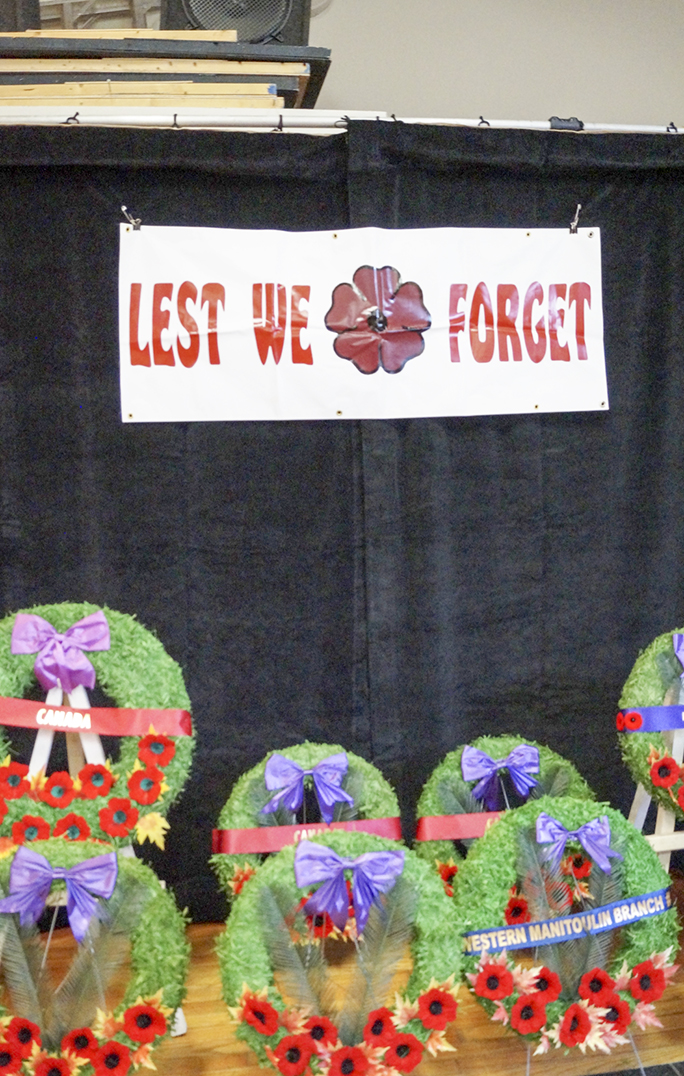 Wreaths sit beneath a banner at the Kagawong Remembrance  services. photo by Sharon Jackson