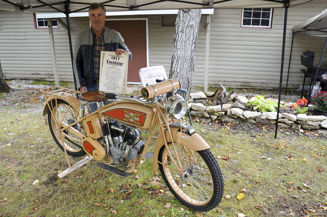 Pat Julig's 1917 Excelsior motorcycle was quite the hit at the Sheguiandah Fall Fair.