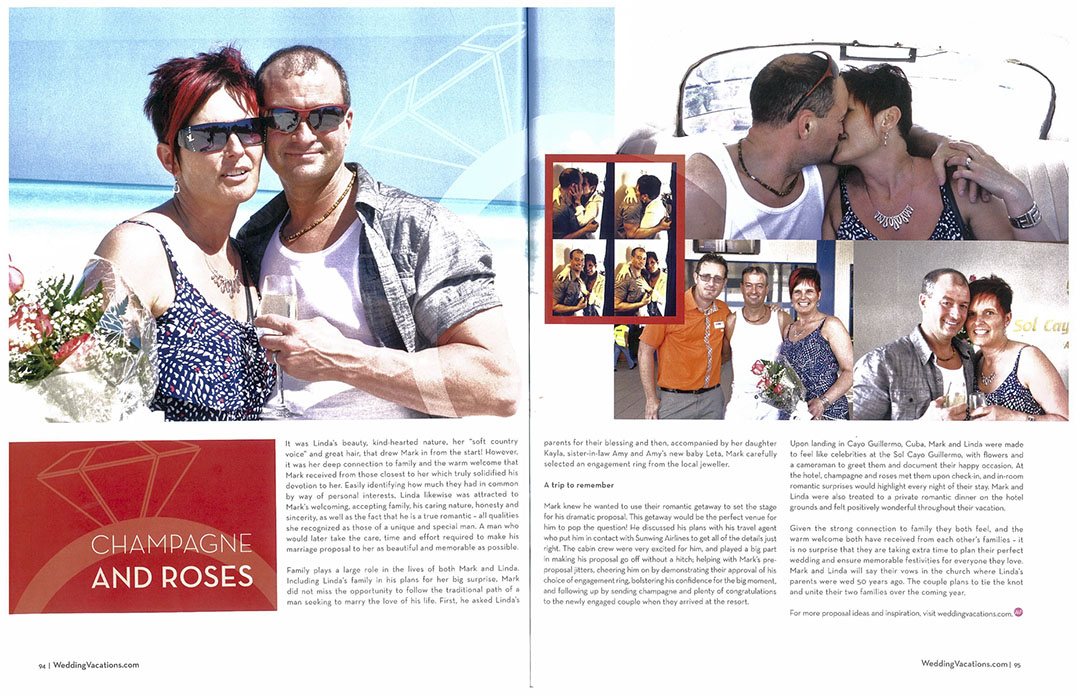 Just one page of a two-page spread featuring the newly-engaged couple in the Sunwing  Airlines' magazine.