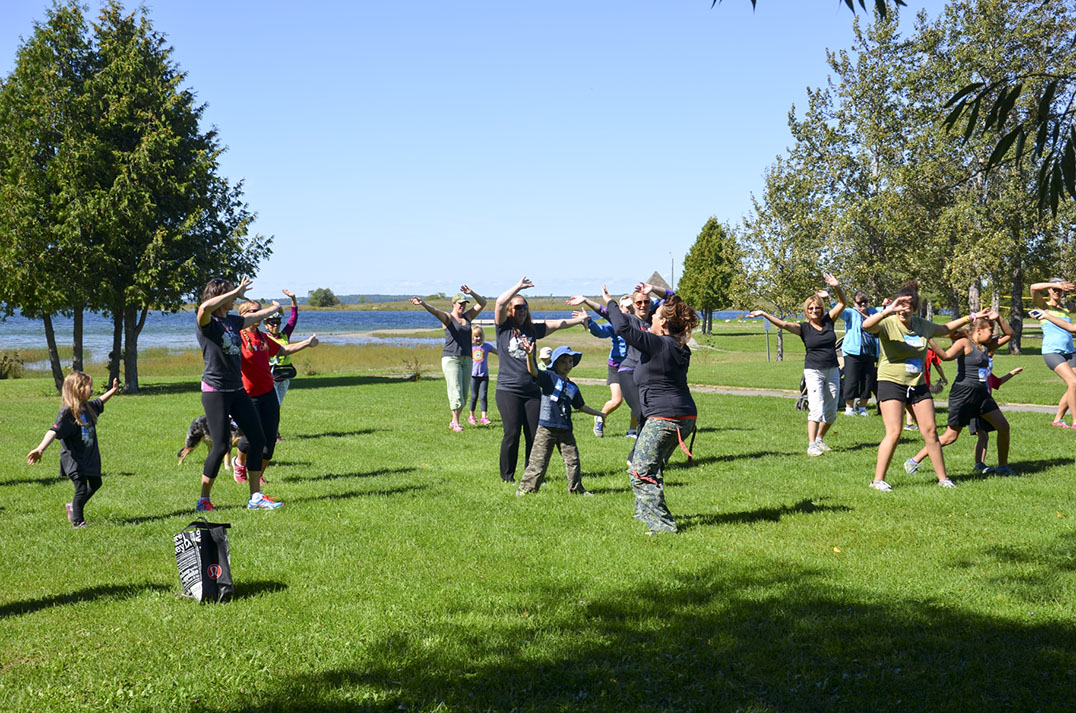 Colleen Mailloux teaches a Zumba lesson to an enthusiastic group before the Terry Fox Run on Sunday.