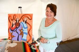 Artist Nikki Manitowabi organized a showcase of local artists at the powwow