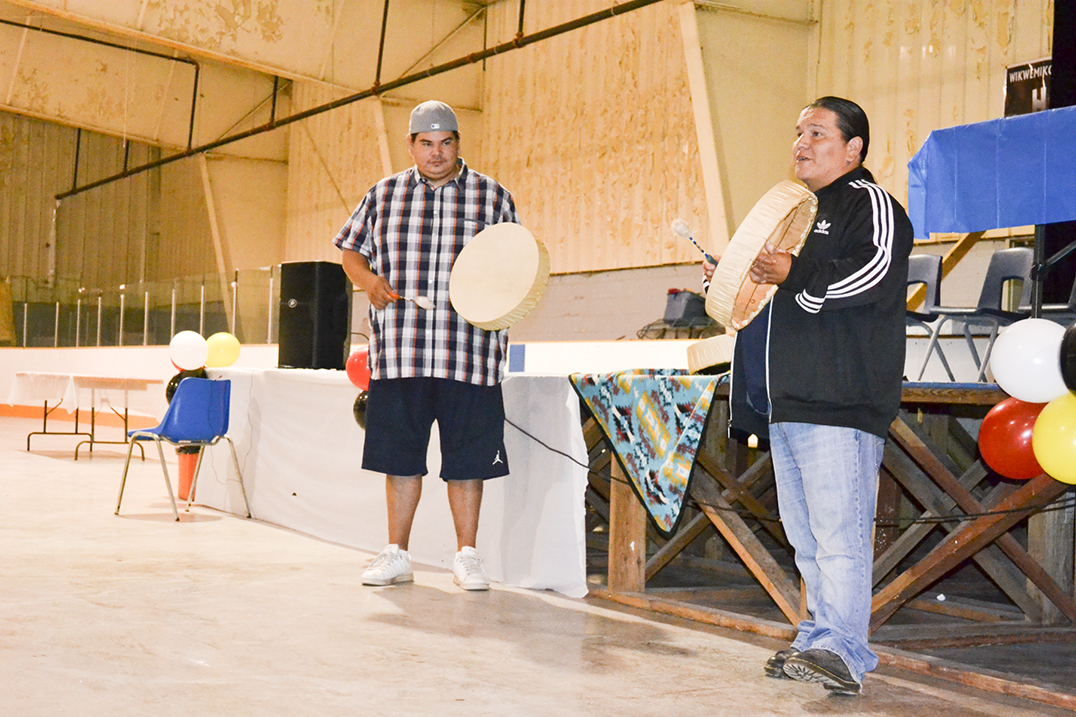 Adam Kaboni and Harvey Bell lead a workshop on traditions and drum teachings.