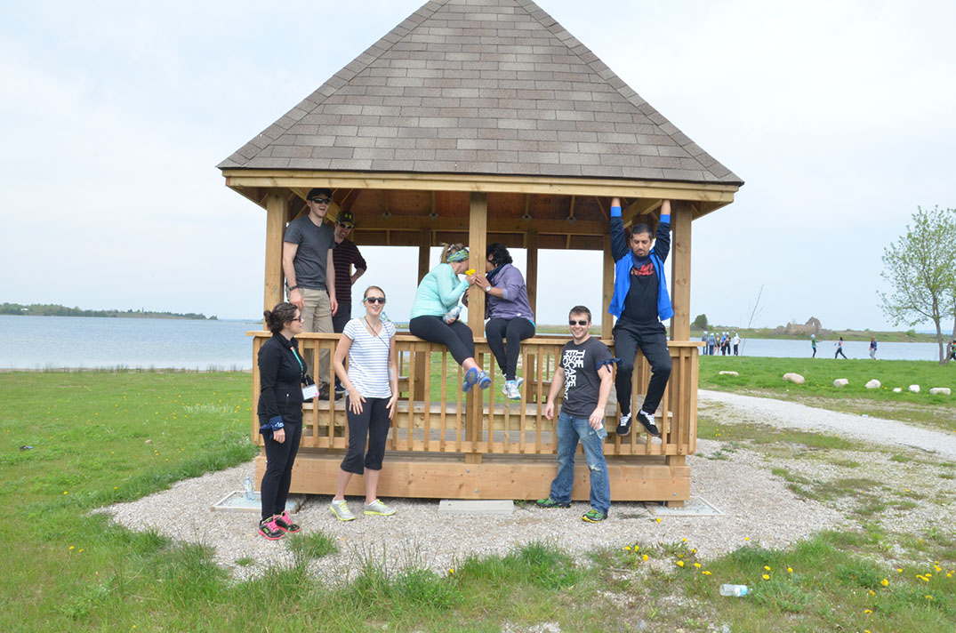 Northern Ontario School of Medicine students ham it up at the  gazebo at Low Island. photos by Michael Erskine