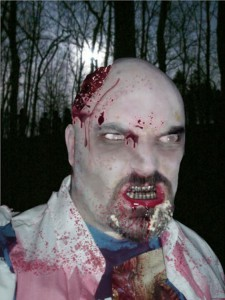 Director Jayson Stewart, seen here as a zombie, will begin shooting his zombie horror flick next month.