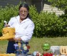market Darlene Bebonang shows her deerskin moccasins