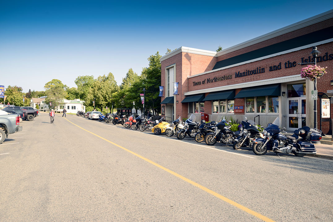 Bikes line Little Current's Water Street before setting off on the first annual Spirit Island Thunder Run. photos by Kevin Milne