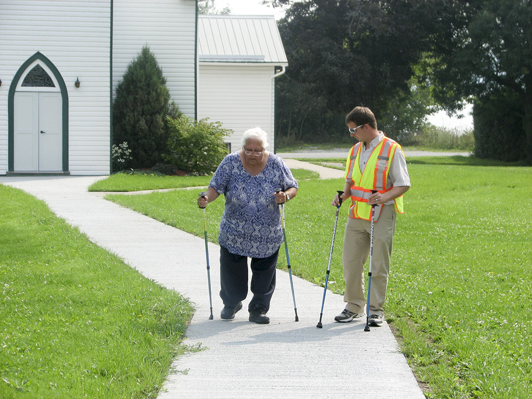 An Assiginack senior receives pointers on the fine art of urban poling as part of a new partnership between the Manitoulin Health Centre Diabetes Training and Care Centre and Trails4Life.